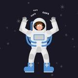 Ο έκπληκτος αστροναύτης λέει ΟΥΠΣ Μπερδεμένος κοσμοναύτης στο σκοτεινό διάστημα ελεύθερη απεικόνιση δικαιώματος