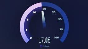 Ο έλεγχος ταχύτητας μεταφορτώνει φορτώνει το μήκος σε πόδηα 4k ζωτικότητας μέτρησης δικτύων ελεύθερη απεικόνιση δικαιώματος