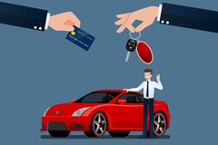 Ο έμπορος αυτοκινήτων πραγματοποιεί μια ανταλλαγή, την πώληση, το μίσθωμα μεταξύ ενός αυτοκινήτου και την πιστωτική κάρτα του πελ διανυσματική απεικόνιση