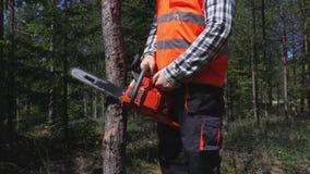Ο έμπορος ξυλείας προσπαθεί να αρχίσει το αλυσιδοπρίονο απόθεμα βίντεο