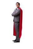 Ο έξοχος επιχειρηματίας ηρώων που απομονώνεται στο λευκό Στοκ Εικόνες