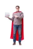Ο έξοχος σπουδαστής ηρώων με τα βιβλία που απομονώνεται στο λευκό Στοκ Εικόνες