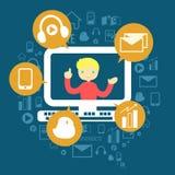 Ο έξυπνος να χρησιμοποιήσει τα κοινωνικά μέσα Στοκ Εικόνα