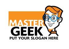 Ο έξυπνος χαρακτήρας Geek φορά μια προδιαγραφή με το σύστημα σηματοδότη απεικόνιση αποθεμάτων