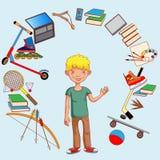 Ο έφηβος και τα ενδιαφέροντά του, απασχόληση, εκπαίδευση, ανάπτυξη Στοκ Εικόνες