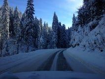 Οδήγηση κατά τη διάρκεια του χειμώνα Στοκ Εικόνα