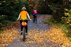 Οδήγηση ποδηλατών στα βουνά φθινοπώρου Στοκ Εικόνες