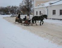 Οδήγηση πλατών αλόγου στη Ρωσία Στοκ εικόνες με δικαίωμα ελεύθερης χρήσης