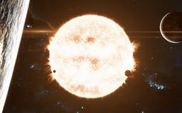 Ο ήλιος Κόκκινο αστέρι του ηλιακού συστήματος Τέχνη επιστημονικής φαντασίας Τα στοιχεία της εικόνας εφοδιάστηκαν από τη NASA στοκ φωτογραφία με δικαίωμα ελεύθερης χρήσης