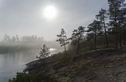 Ο ήλιος λάμπει μέσω της παχιάς ομίχλης Καρελία, Ρωσία Στοκ εικόνες με δικαίωμα ελεύθερης χρήσης