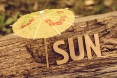 Ο ήλιος λέξης αποτελείται από τις ξύλινες επιστολές στο παλαιό ξύλινο υπόβαθρο Τουρισμός, υπόλοιπο, ήλιος, ιδέα έννοιας Στοκ φωτογραφίες με δικαίωμα ελεύθερης χρήσης