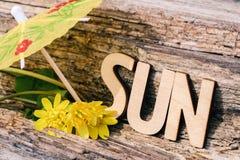 Ο ήλιος λέξης αποτελείται από τις ξύλινες επιστολές στο παλαιό ξύλινο υπόβαθρο Τουρισμός, υπόλοιπο, ήλιος, ιδέα έννοιας Στοκ φωτογραφία με δικαίωμα ελεύθερης χρήσης