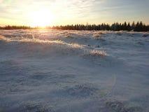 Ο ήλιος γυρίζει τους χιονώδεις λόφους στο χρυσό Στοκ εικόνα με δικαίωμα ελεύθερης χρήσης