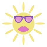 Ο ήλιος με τα γυαλιά ηλίου και τα χείλια διανυσματική απεικόνιση