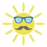Ο ήλιος με τα γυαλιά ηλίου και moustache ελεύθερη απεικόνιση δικαιώματος