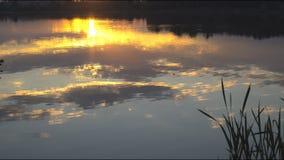Ο ήλιος που θέτει πέρα από τη λίμνη απόθεμα βίντεο