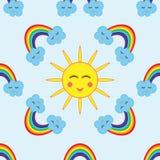 Ο ήλιος που περιβάλλεται από τα σύννεφα και ένα ουράνιο τόξο πρότυπο κινούμενων σχεδίω απεικόνιση αποθεμάτων