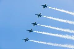 Ο αέρας και το νερό του Σικάγου παρουσιάζουν, αμερικανικοί μπλε ναυτικοί άγγελοι Στοκ εικόνες με δικαίωμα ελεύθερης χρήσης