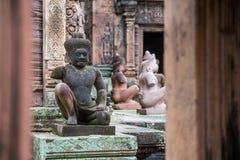 Ο δαίμονας στο ναό Banteay Srei, Καμπότζη Στοκ Εικόνες