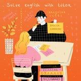 Ο αγγλικός δάσκαλος διδάσκει έναν σπουδαστή χωριστά Μάθημα ξένης γλώσσας ελεύθερη απεικόνιση δικαιώματος