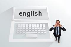Ο αγγλικός και φωνάζοντας επιχειρηματίας λέξης Στοκ φωτογραφία με δικαίωμα ελεύθερης χρήσης