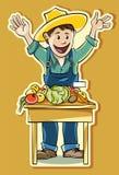 Ο αγρότης στην αγορά διανυσματική απεικόνιση