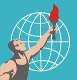 Ο αθλητής με το εθιμοτυπικό φλεμένος υπόβαθρο φανών της σφαίρας Ρίο Βραζιλία 2016 επίσης corel σύρετε το διάνυσμα απεικόνισης Στοκ Εικόνα