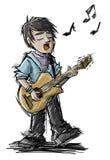 ο ακουστικός κιθαρίστας κιθάρων λεπτομερειών δίνει το instrumant μουσικό παιχνίδι φορέων εκτελεστών Στοκ εικόνα με δικαίωμα ελεύθερης χρήσης