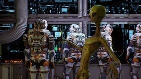 Ο αλλοδαπός γλιστρά στους προηγούμενους αστροναύτες την έξοχη ρεαλιστική έννοια διανυσματική απεικόνιση