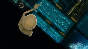 Ο αλλοδαπός πιέζει τα πλήκτρα στην οθόνη ολογραμμάτων sci-Fi Ρεαλιστικό υπόβαθρο κινήσεων 4K απεικόνιση αποθεμάτων