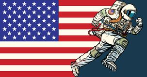 Ο αμερικανικός πατριώτης αστροναυτών τρέχει προς τα εμπρός σημαία ΗΠΑ διανυσματική απεικόνιση