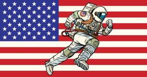 Ο αμερικανικός πατριώτης αστροναυτών τρέχει προς τα εμπρός ΑΜΕΡΙΚΑΝΙΚΗ σημαία ελεύθερη απεικόνιση δικαιώματος