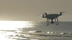Ο αναδρομικά φωτισμένος κηφήνας πετά κοντά στην παραλία απόθεμα βίντεο