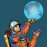 Ο αναδρομικός αστροναύτης κρατά το πλανήτη Γη σε διαθεσιμότητα απεικόνιση αποθεμάτων