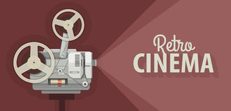 Ο αναδρομικός προβολέας κινηματογράφων για τις παλαιές ταινίες παρουσιάζει διανυσματική απεικόνιση