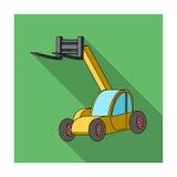 Ο ανελκυστήρας αυτοκινήτων για το φορτίο φόρτωσης στο φορτηγό για τη μεταφορά Ενιαίο εικονίδιο γεωργικών μηχανημάτων στο επίπεδο  ελεύθερη απεικόνιση δικαιώματος