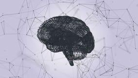 Ο ανθρώπινος εγκέφαλος υπό μορφή μορίων και πλέγματος Αφηρημένο γεωμετρικό υπόβαθρο με την κίνηση των γραμμών, των σημείων και τω διανυσματική απεικόνιση
