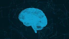 Ο ανθρώπινος εγκέφαλος υπό μορφή μορίων και πλέγματος Αφηρημένο γεωμετρικό υπόβαθρο με την κίνηση των γραμμών, των σημείων και τω απεικόνιση αποθεμάτων