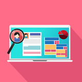 Ο ανιχνευτής αναζήτησης και ιστοχώρου εργασίας στην αναζήτηση επαναλαμβάνει on-line Στοκ Εικόνες