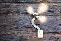 ο ανοικτός διακόπτης για ανοίγει το φως στο φως βολβών και τα νομίσματα για την ιδέα α Στοκ φωτογραφία με δικαίωμα ελεύθερης χρήσης