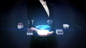 Ο ανοικτός φοίνικας επιχειρηματιών, έξυπνο εργοστάσιο, ηλιακό πλαίσιο, γεννήτρια αέρα, υδροηλεκτρισμός συνδέει Διαδίκτυο των πραγ απεικόνιση αποθεμάτων