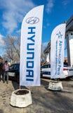 Ο αντιπρόσωπος σημαιοστολίζει τη Hyundai και την επίσημη επιχείρηση Argo εμπόρων Στοκ Εικόνα