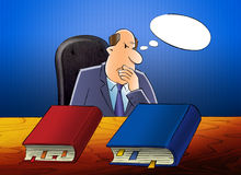 Ο ανώτερος υπάλληλος συλλογίζεται απεικόνιση αποθεμάτων