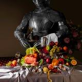Ολλανδική ακόμα ζωή, με έναν ιππότη στο τεθωρακισμένο στοκ εικόνες