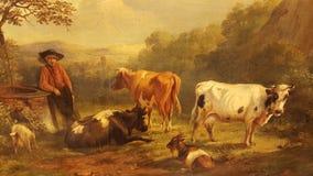 Ολλανδική κύρια αντίκα αγελάδων ζωγραφικής Στοκ εικόνα με δικαίωμα ελεύθερης χρήσης