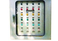 Ο απορροφώντας έλεγχος πινάκων διανομής συσκευών εμπλουτισμού σε διοξείδιο του άνθρακα ηλεκτρικός, εικόνα παρουσιάζει κουμπί εντο στοκ φωτογραφίες