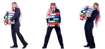 Ο αραβικός επιχειρηματίας με πολλούς φακέλλους στο λευκό Στοκ Εικόνα