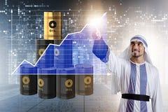 Ο αραβικός επιχειρηματίας στην επιχειρησιακή έννοια τιμών του πετρελαίου Στοκ εικόνα με δικαίωμα ελεύθερης χρήσης