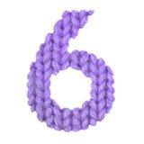 Ο αριθμός 6 αλφάβητο έξι, χρωματίζει την πορφύρα Στοκ Φωτογραφίες
