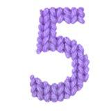 Ο αριθμός 5 αλφάβητο πέντε, χρωματίζει την πορφύρα Στοκ Φωτογραφία